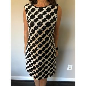 Taylor black & white sequins cocktail dress